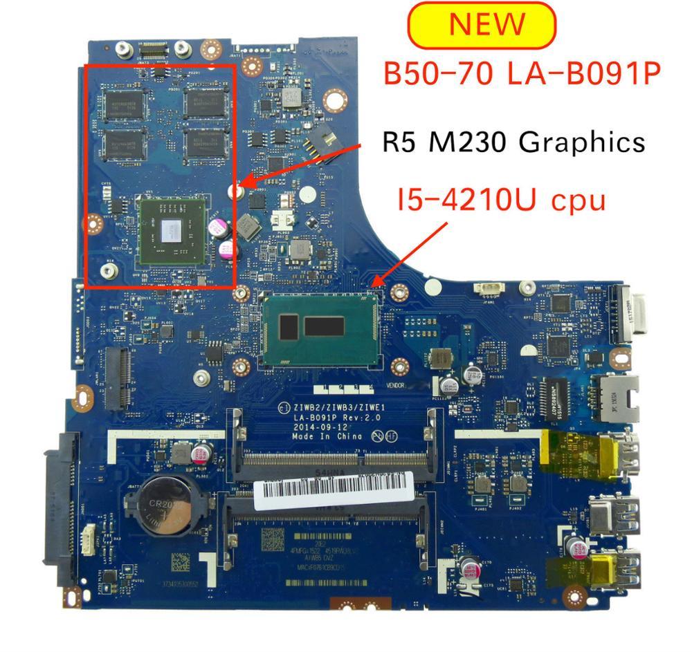 5B20G46259 For Lenovo Ideapad B50-70 B50 70 Laptop Motherboard ZIWB2/ZIWB3/ZIWE1 LA-B091P SR1EF I5-4210U