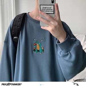 Image 3 - Privatithinker masculino outono dinossauro bordado pullovers sweatshirts dos homens 3 cores o pescoço hoodies moda masculina camisola coreana