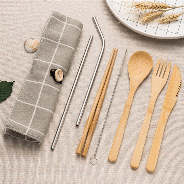 Tableware Set Bamboo Cutlery Set Wood Straw with Travel Cloth Bag Wooden Spoon Fork Knife Dinnerware Set Wholesale 3