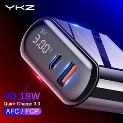 Ykz carga rápida 3.0 carregador usb display led qc 3.0 pd carregamento rápido carregador do telefone móvel para iphone xiaomi samsung huawei