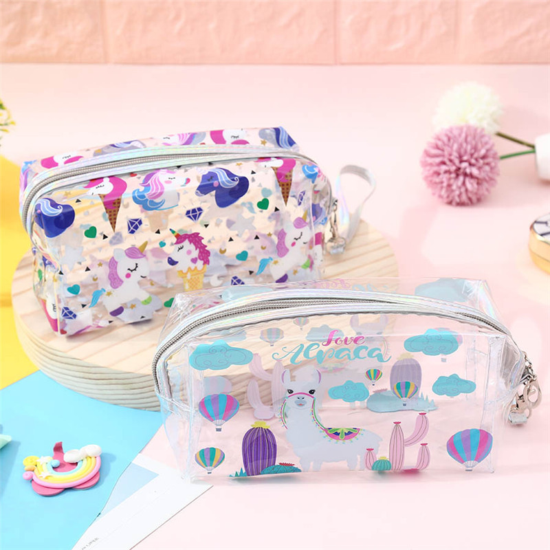 Unicorn Fire Balloon Alpaca Transparent Bag Large Capacity Pencil Bag Stationery Storage Organizer Pencil Case School Supply