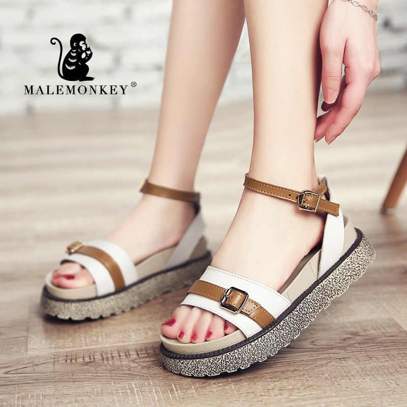 Malemonkey 1082 Nữ Giày Sandal Nữ Thời Trang 2020 Thiết Kế Mới Xăng Đan Mùa Hè Người Phụ Nữ Thoải Mái Gót Nền Tảng Giày Sandal Nữ Nâu