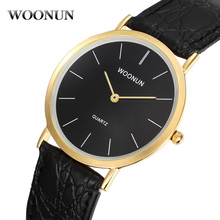 Роскошь мужские золото часы Woonun 2020 супер тонкие мужские часы мужские часы водонепроницаемый противоударный кварцевые часы искусственный кожа часы