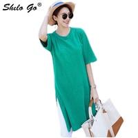 Green Solid Slit Hem Round Neck Tee Women Summer T Shitrt Casual Half Sleeve Stretchy Basics Tshirt Tops Female