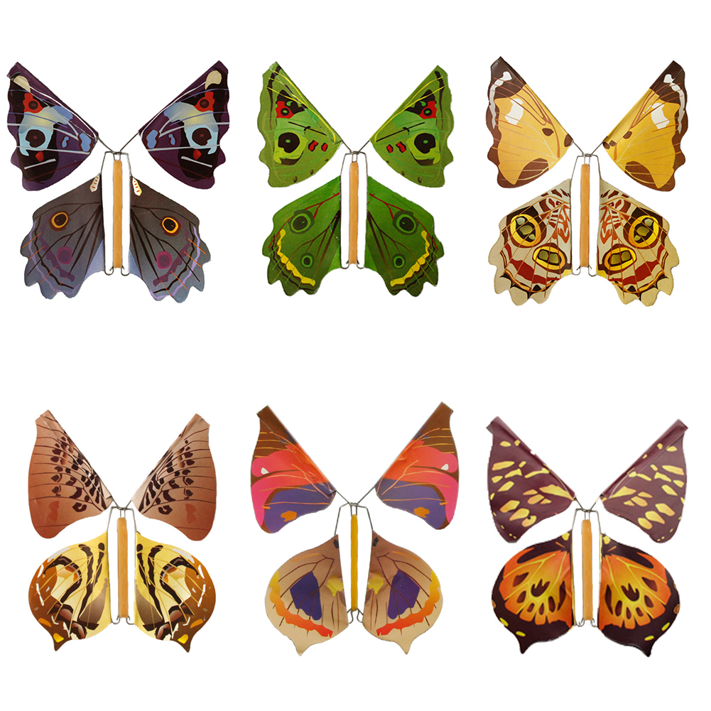 Flying Butterfly Children's Magic Prop Toy Magic Fairy Flying In The Book Butterfly Rubber Band Powered Wind Up Butterfly Toy Gr