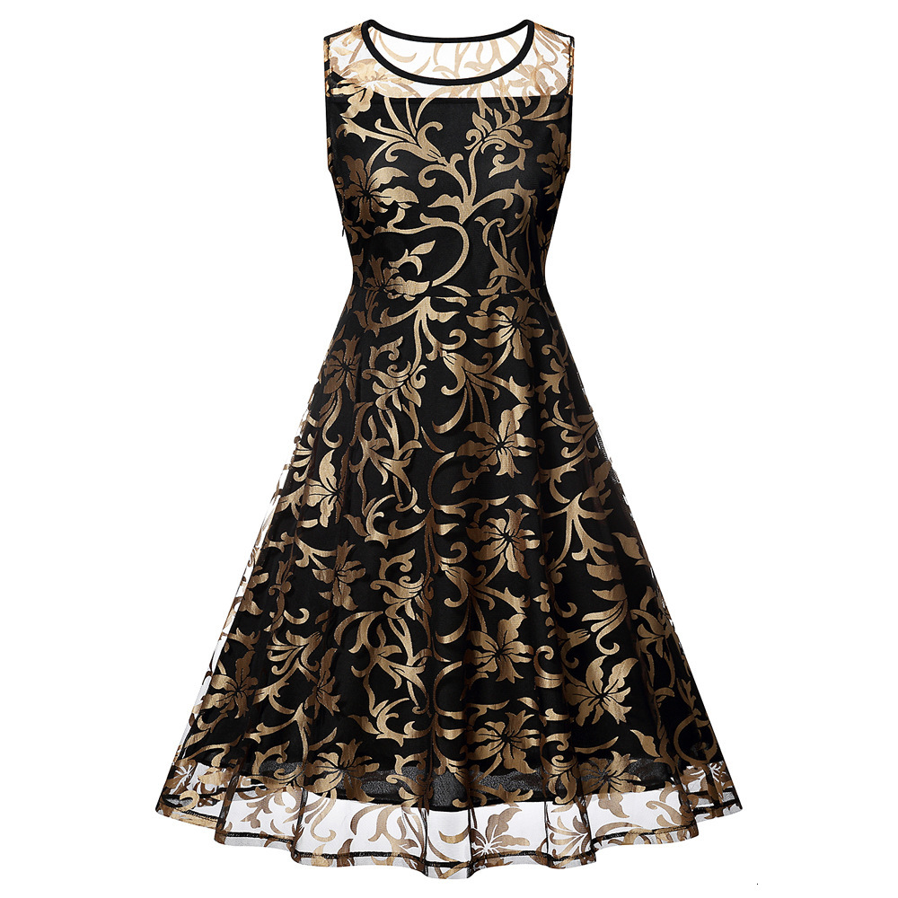 BacklakeGirls Hot Sale Woman Gold Floral Printing   Dress   Elegant Scoop Neck Knee Length Tulle   Cocktail     Dress   Vestido Coctel Corto