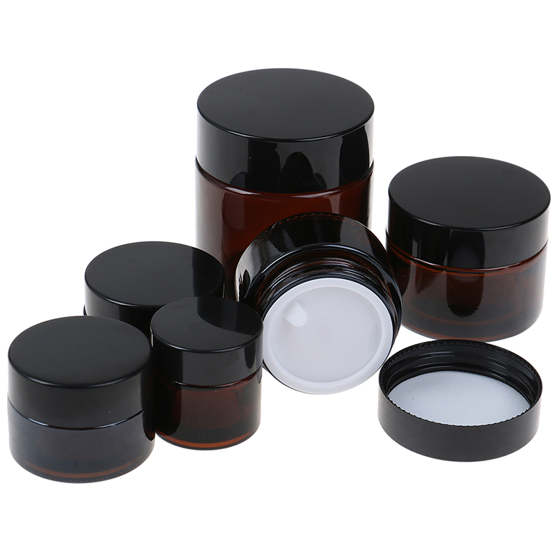 10g/15g/20g/30g/50g/100g Glass Amber Brown Cosmetic Face Cream Bottles Lip Balm Sample Container Jar Pot Makeup Store Vials Hot