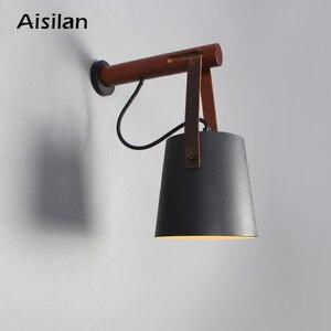 Image 1 - Aisilan Lámparas LED de pared para sala de estar, dormitorio, pared del pasillo, apliques de luz, Bombilla E27, luz de pared nórdica de madera