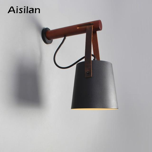 Aisilan Lámparas LED de pared para sala de estar, dormitorio, pared del pasillo, apliques de luz, Bombilla E27, luz de pared nórdica de madera