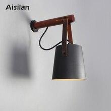 Aisilan led 벽 램프 거실/침대 룸/복도 벽 sconces 빛 e27 전구 북유럽 나무 벽 빛