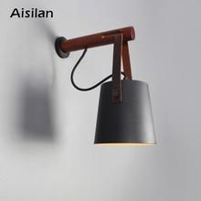 Lampy ścienne led Aisilan do salonu/sypialnia/na ścianę w korytarzu kinkiety E27 żarówka Nordic drewniana ściana światło