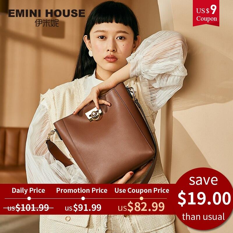 Women Bags Lock-Bucket-Bag Emini House Crossbody-Bags Designer High-Capacity Split Diamond