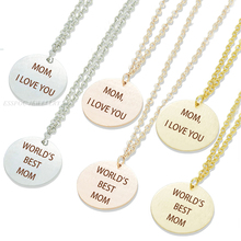 цена на Mother Day Gift for Women Mom,I Love You Disc Pendant Letters Necklace World's Best Mom Lettering Jewelry Bar Engraving Necklace