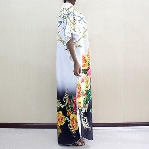 Image 3 - Новое модное Африканское платье Дашики с круглым вырезом и принтом из полиэстера с рукавом летучая мышь благородное длинное платье для женщин элегантное