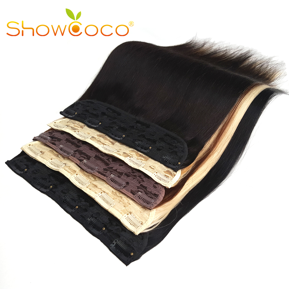 ShowCoco Clip-In One Piece Human Hair Extensions 160G Straight Hair Clips Machine Made Remy Natural Hair 5 Clips Ins For Women