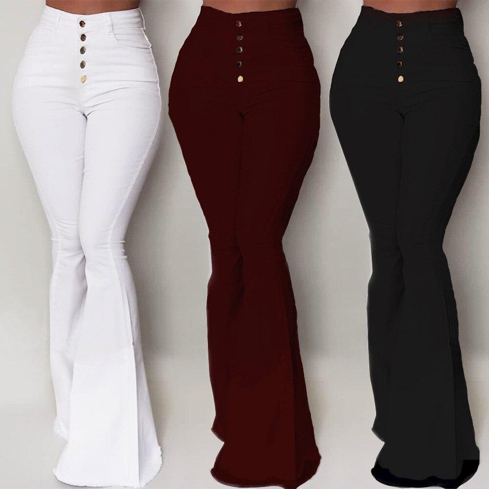 Goocheer Weiß Bell-Bottom Hosen Frauen Taste Hohe Taille Flare Hosen Neue Hosen Dünne Beiläufige Elegante Arbeit Tragen Pantalon Femme