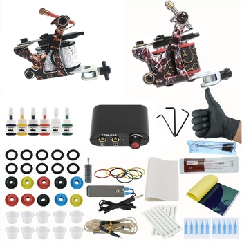 Complete Coil Tattoo Machine Set Tattoo Power Supply Needles Professional 2 Tattoo Machine Kit for Beginner thunderlord wireless power tattoo machine kit rotary tattoo pen machine set with cartridge needles for tattoo beginner artists