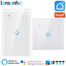 цена на Lonsonho Smart Wifi Switch EU US 1 2 3 Gang Tuya Smart Life App Wireless Remote Control Smart House Touch Panel Light Switch