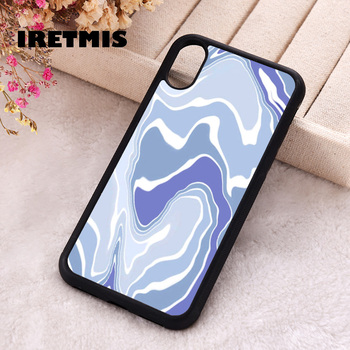 Iretmis 5 5S SE 2020 Phone Cover Cases for iPhone 6 6S 7 8 Plus X Xs Max XR 11 12 MINI Pro Rubber Silicone Blue Wavey image