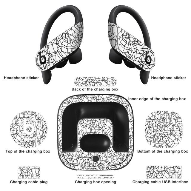YCSTICKER Newest Bluetooth Headphone Sticker For Beats Powerbeats Pro Dust proof Decorative Protective Earphone Film Cover