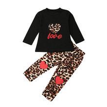 Toddler Kids Baby Girl Clothes Long Sleeve Tops+Leopard Leggings Pants Outfits thanksgiving toddler kids baby girl clothes long sleeve tops plaid pants leggings headband 3pcs outfits clothes set