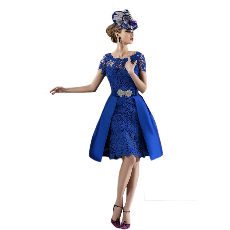 Custom Made Gorgeous 2016 Fashion Royal Blue Lace Mother Of The Bride Dresses Removable Skirt Women Evening Dress