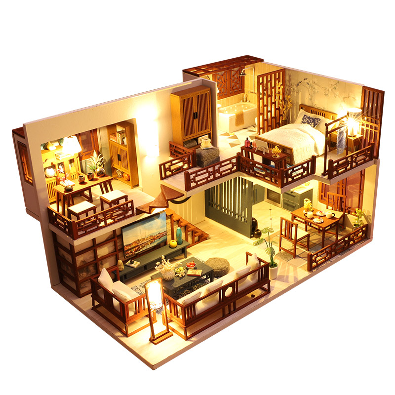 Miniature Dollhouse Kits DIY Wooden Furniture Chinese Ink Painting Dolls House Model LED 3D Puzzle Toy Home Decor Christmas Gift