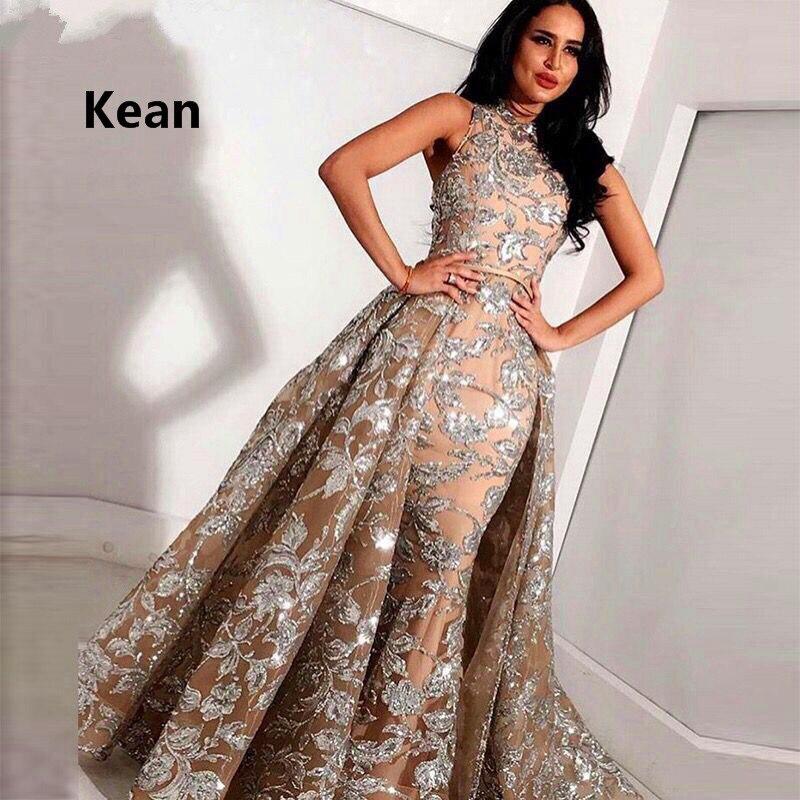 Image 4 - 2019 Muslim Evening Dresses Mermaid Lace Detachable Train Islamic  Dubai Saudi Arabic Long Elegant Evening Gown Prom DressEvening  Dresses