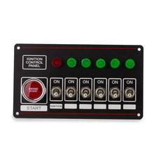 Panel de interruptor de 12V 40A para coche de carreras, interruptor de arranque de coche + 6 interruptores de apagado rápido, botón de arranque del motor con 6 luces indicadoras