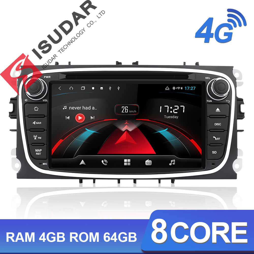 Isudar 2 H53 Android Din Autoradio Para FORD/Focus/Mondeo/S-MAX/C-MAX/Galaxy Multimídia Carro jogador GPS 4G 64 8 Núcleo RAM GB DSP DVR