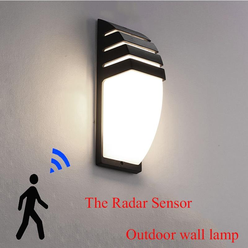Outdoor Led Waterproof Wall Lamp Radar Motion Sensor Courty Garden Porch Light 12W High Brightness AC85--265V