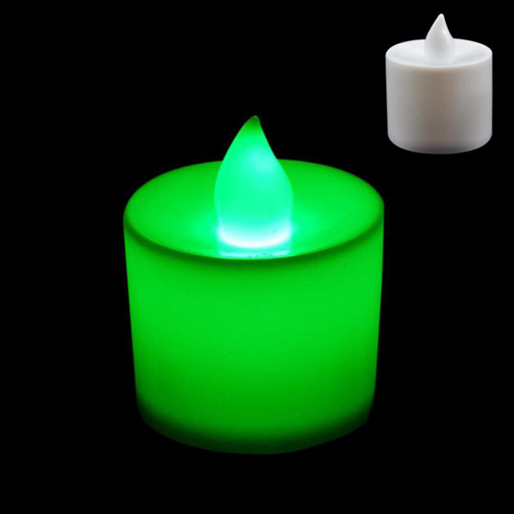 1 шт. Креативный светодиодный многоцветная Лампа-свеча имитация цвета пламени для дома, свадьбы, дня рождения, фестивальные декорации - Цвет: Зеленый