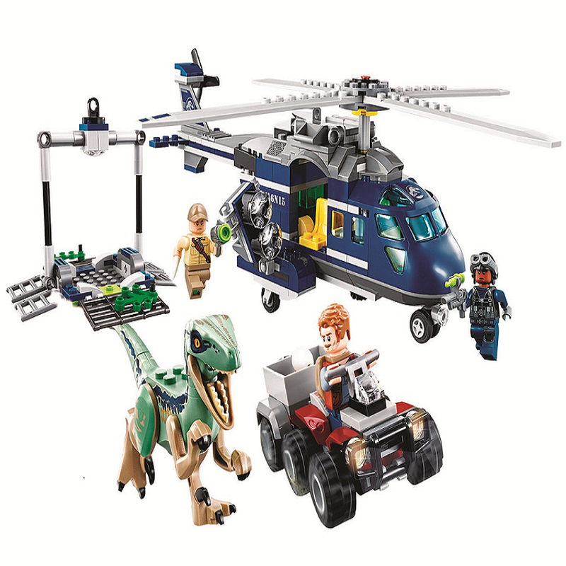 10925 Jurassic Parked  Blue's Helicopter Pursuit 415Pcs Bricks Compatible Legoinglys Jurassic World Model Building Blocks-in Blocks from Toys & Hobbies