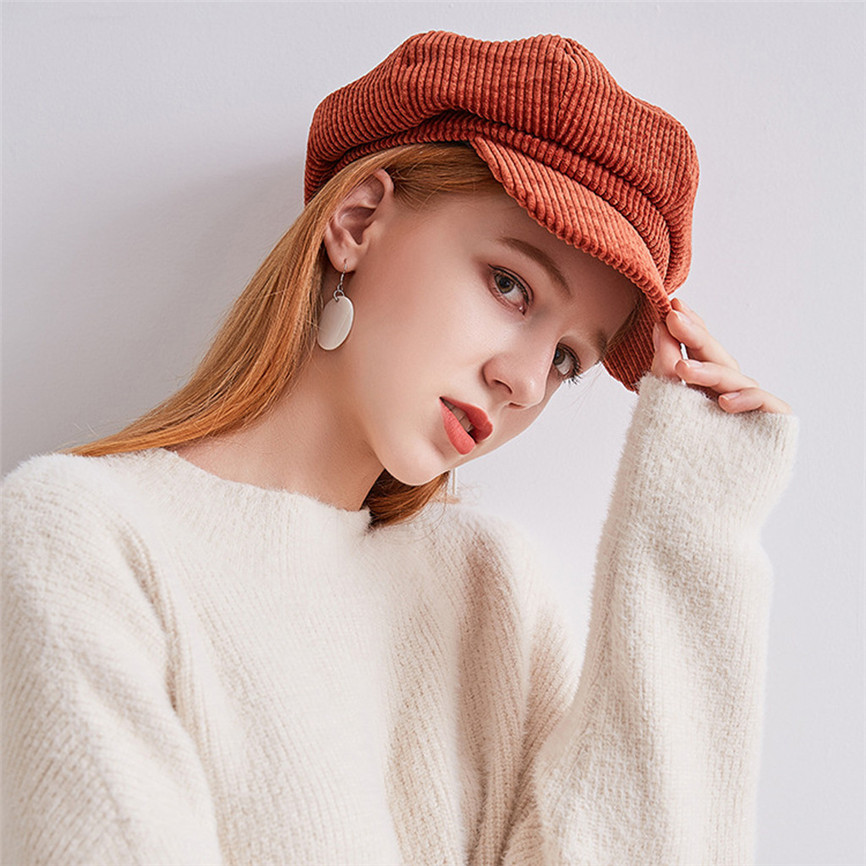 2019 Women Corduroy Solid Thermal Hat Painter Octagonal Cap Peaked Multi-Color Cap Autumn And Winter Knit Hat Czapka Zimowa 30