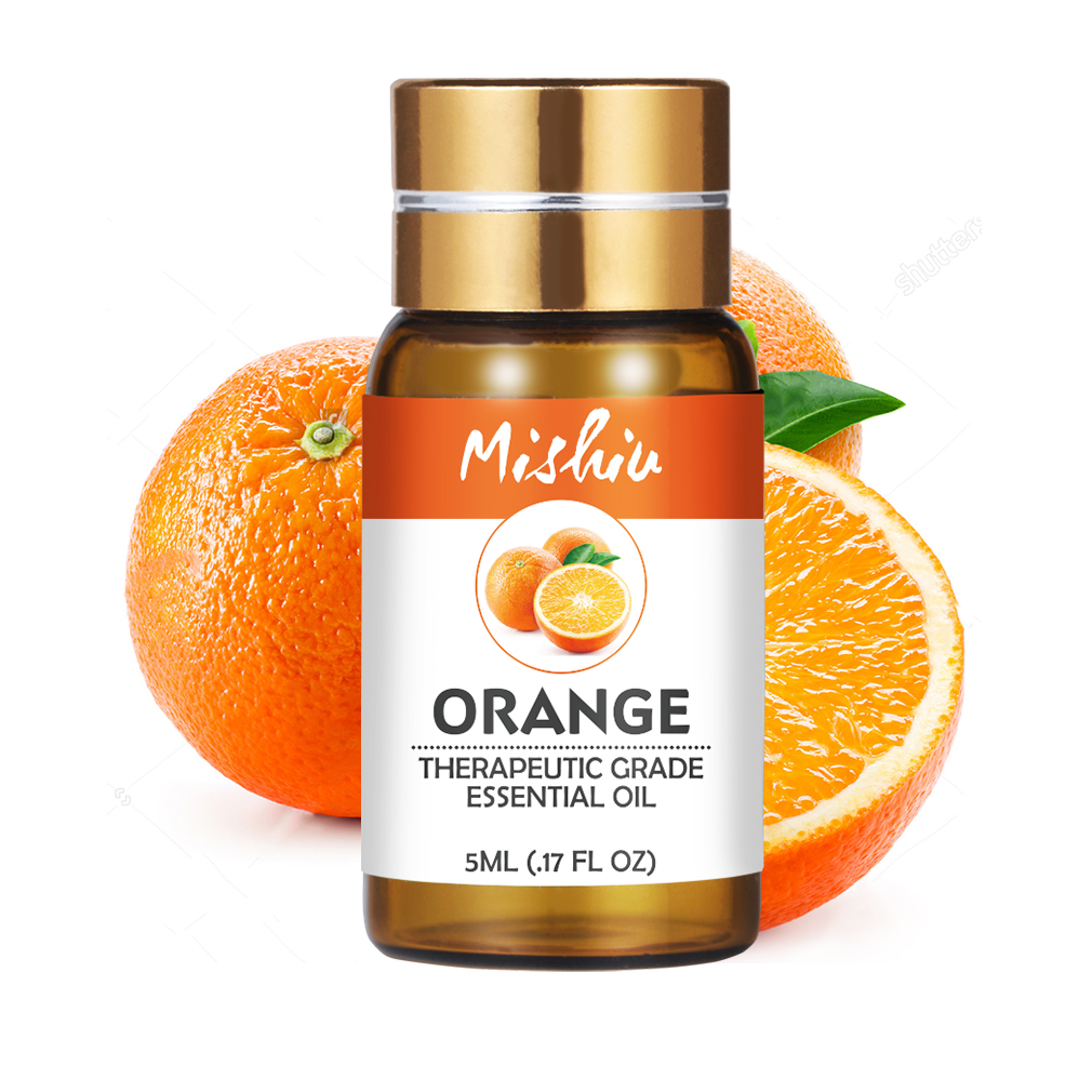 Mishiu Pure Orange Essential Massage Oil Lavender Tea Tree Peppermint Eucalyptus Lemongrass Rosemary Lemon Essential Aroma 5ML