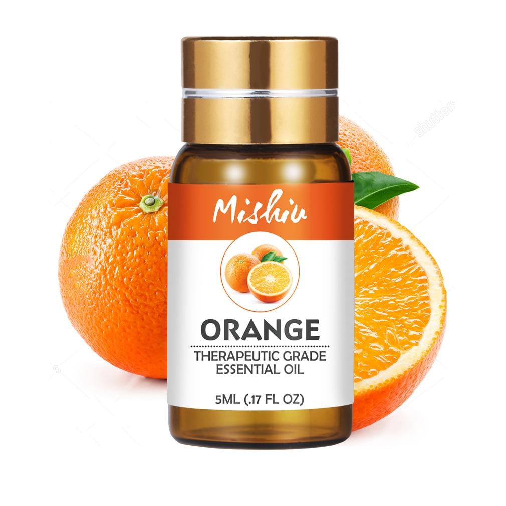 Mishiu Pure Orange Essential Massage Oil Lavender Tea Tree Peppermint Eucalyptus Lemongrass Rosemary Lemon Essential Aroma 5ML