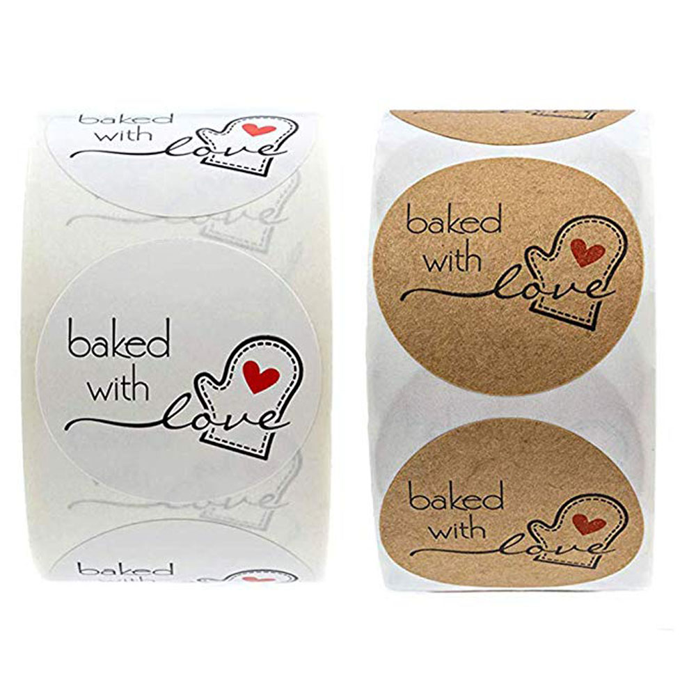 500 Pcs / Roll Christmas Gift Tags Happy Holidays Natural Kraft Paper Baking Love Stickers Wedding Decoration Stationery Sticker
