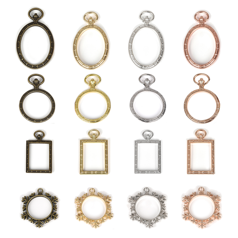 YAKAMOZ 5pcs Vintage Metal Frame Charm Pendant Hollow Bezel Setting Resin Crafts For Necklace Earring Jewelry Making