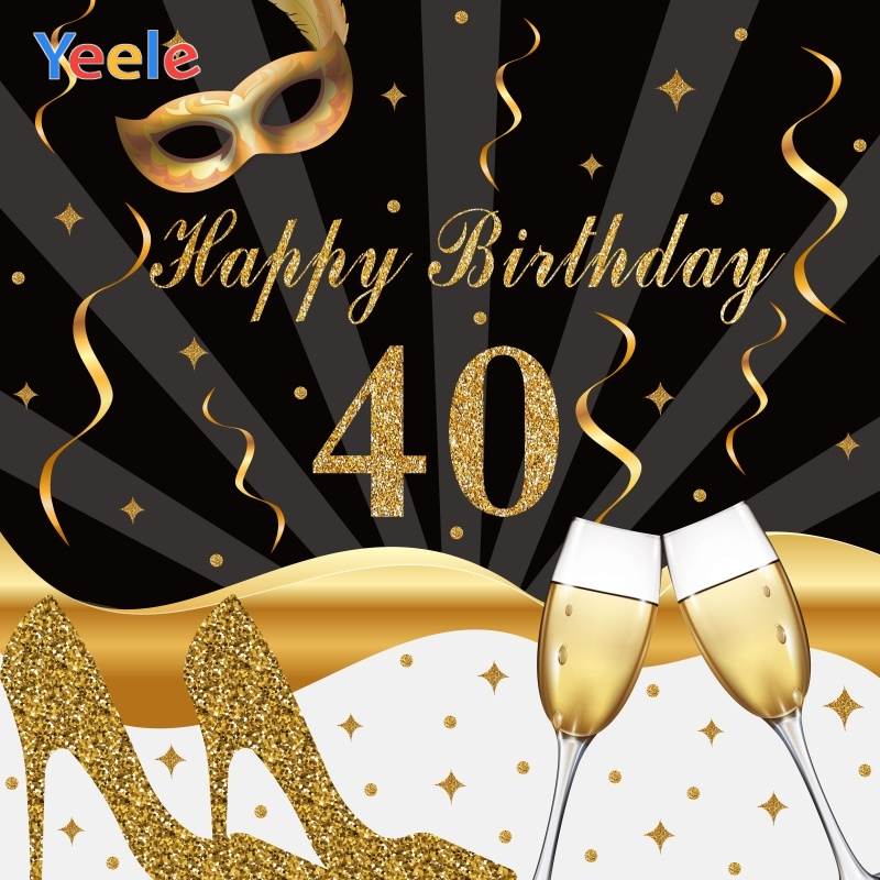 Yeele <font><b>40th</b></font> <font><b>Birthday</b></font> Photocall Decors Champagne Mask Photography <font><b>Backdrops</b></font> Personalized Photographic Backgrounds For Photo Studio image