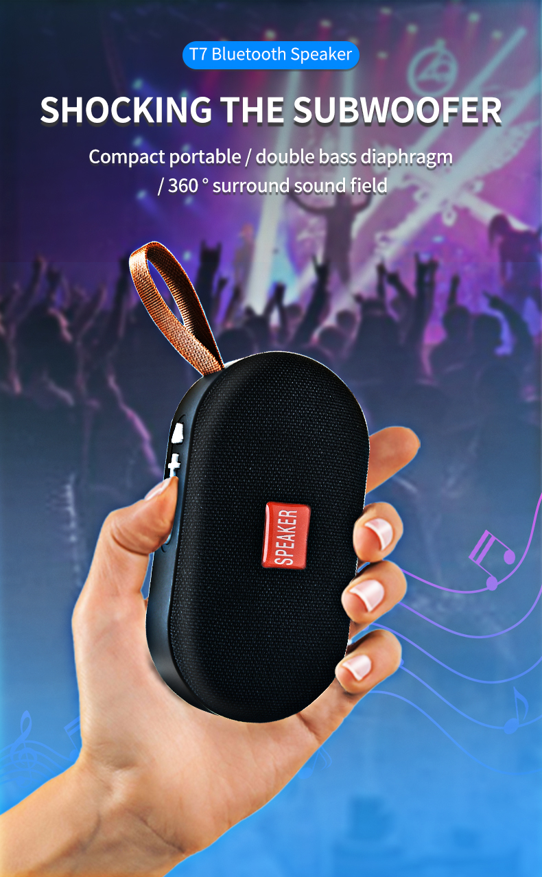 T7 Mini Bluetooth Speaker Portable Wireless Loudspeaker Sound System 3D Stereo Music Surround Outdoor Speaker Support FM TFCard 13