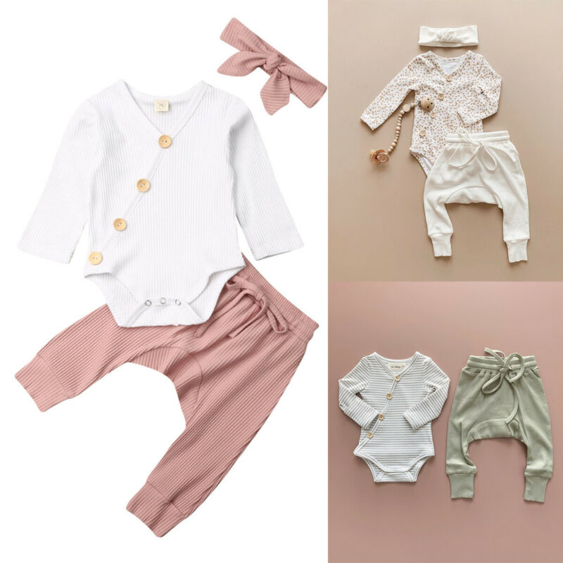 Infant Baby Boy Girl Cotton Ribbed Clothes Romper Jumpsuit Pants Leggings Outfit