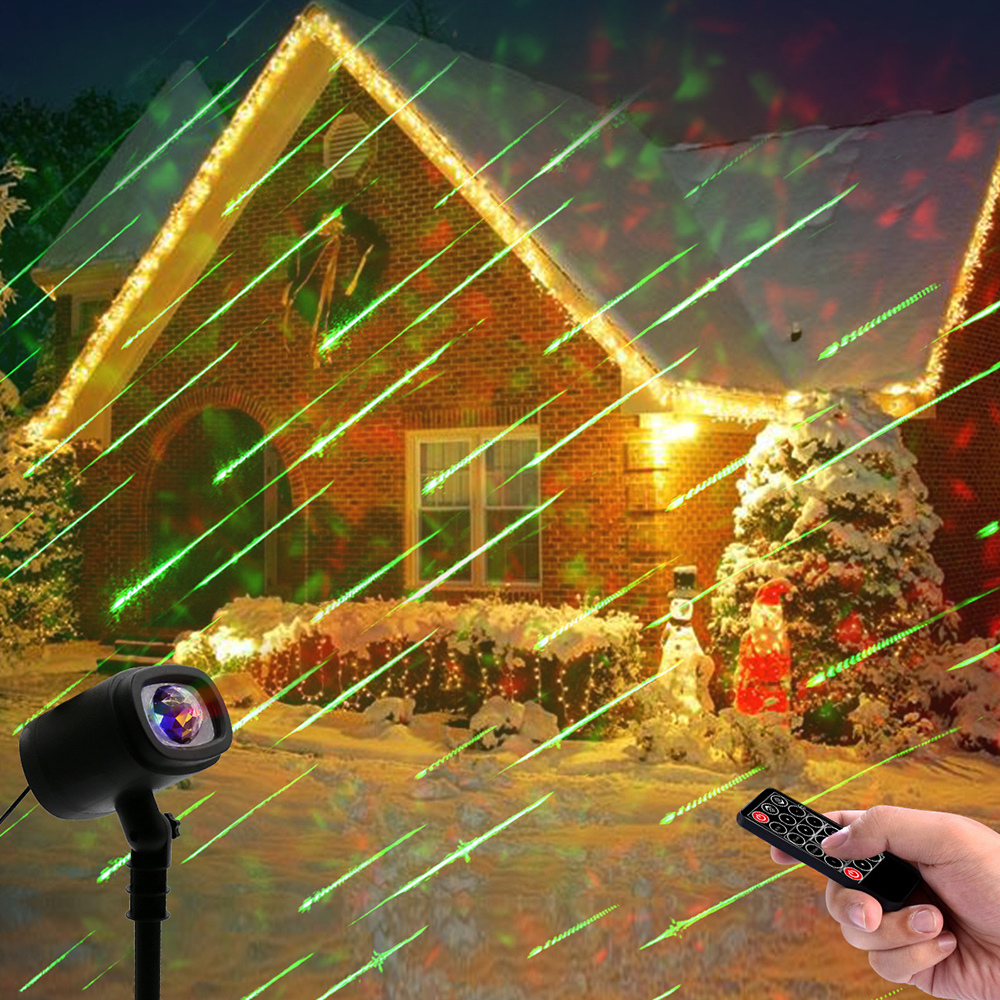 Meteor Shower Rain Christmas Laser Projector Light Outdoor Ocean Waves Ripple Effects LED Stage Lamp For DJ Disco Party Garden