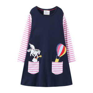 Jumping meters Long Sleeve Princess Girls Cotton Dresses Animals Applique Pockets Children Autumn Spring Clothes Unicorn