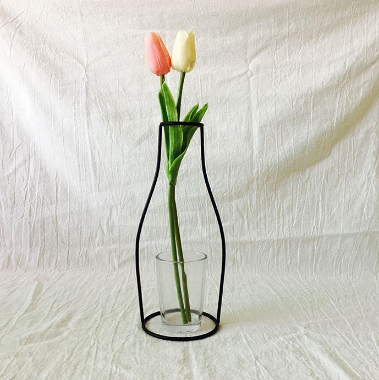 Новая креативная ваза DIY вечерние ваза черный держатель для растений подставка держатель железный провод цветок вазы орнамент жизнь - Цвет: H