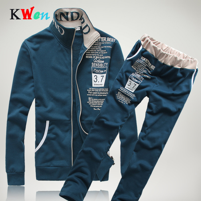 New Men Sets Fashion Autumn Spring Sporting Suit Sweatshirt +Sweatpants Mens Clothing 2 Pieces Sets Slim Tracksuit Hooded Jacket