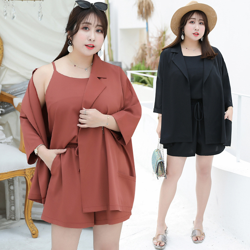 [Xuan Chen] Spring And Summer New Style Fat Mm Large Size Dress France Non-mainstream Loose-Fit Shirt Three-piece Set A Generati