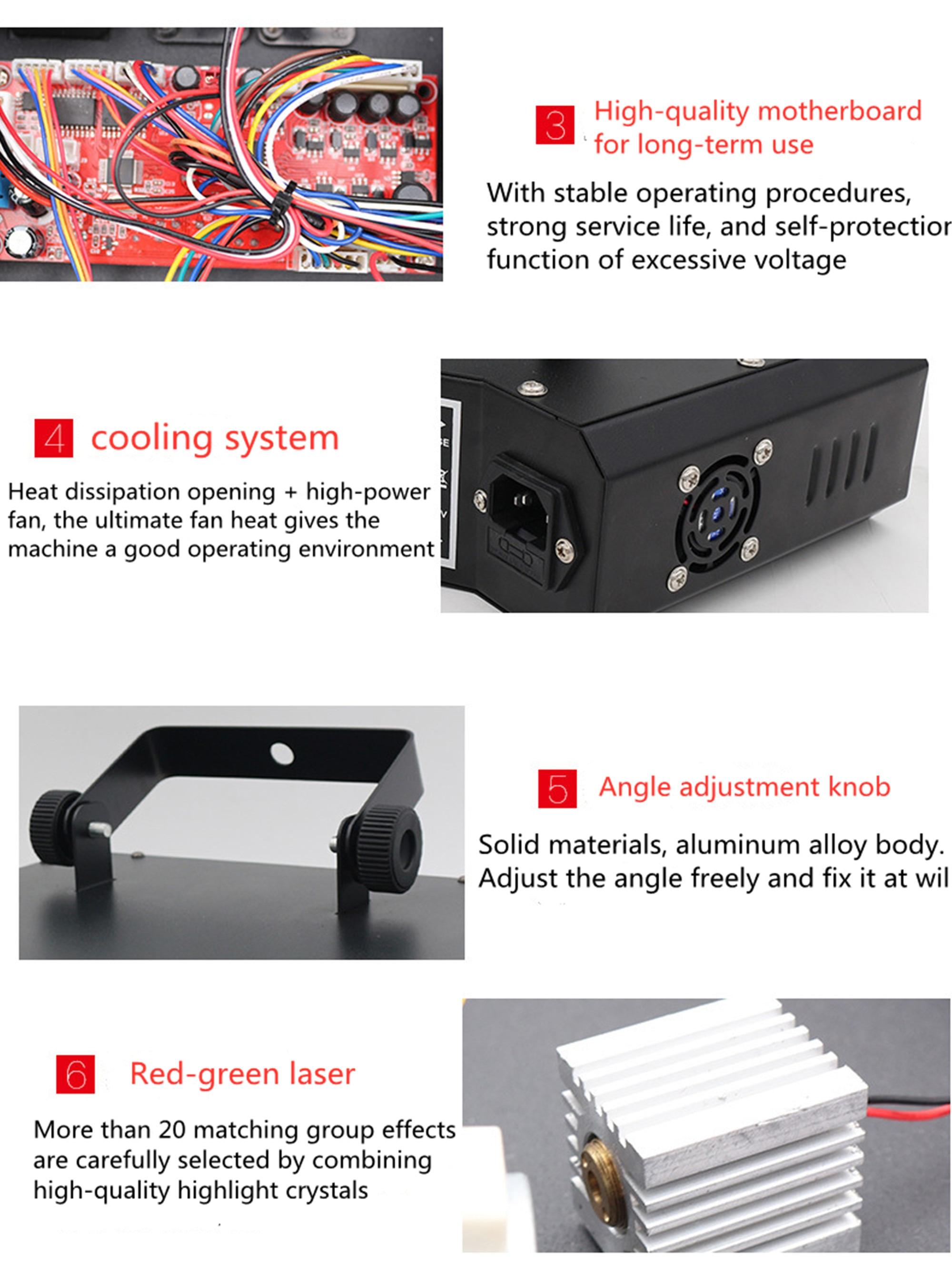 Luminária laser com 6 lentes rgb, sistema