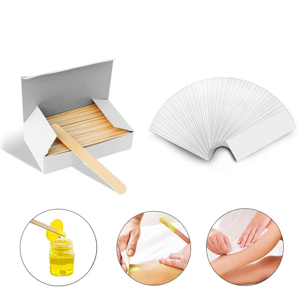 100 Pcs/pack White Waxing Spatulas Paper Strips Kit  Strips For Hair Removal Of Eyebrow Legs Bikini Area