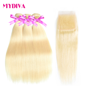613 Blonde Bundles With Closure Brazilian Straight Hair Bundles With Closure Remy Human Hair Weave Extenstions 10-30 Inch Bundle(China)