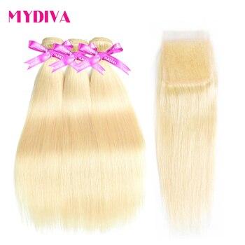 613 блонд пряди с закрытием бразильские прямые волосы пряди с закрытием Remy человеческие волосы плетение наращивание 10-30 дюймов пучок